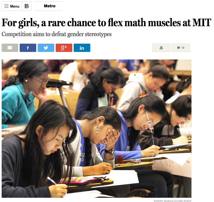 AT Foundation Math Prize story in Boston Globe