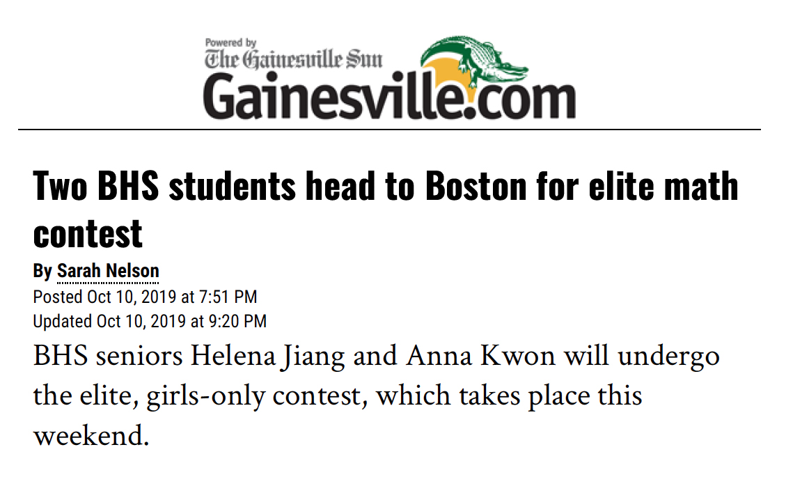 Two BHS students head to Boston for elite math contest